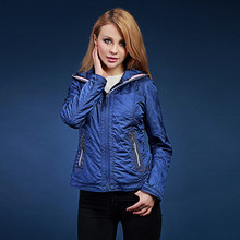 2017 spring new winter zipper padded women Hooded jacket Dark orange, dark blue, blackEuropean and American short coat blouses