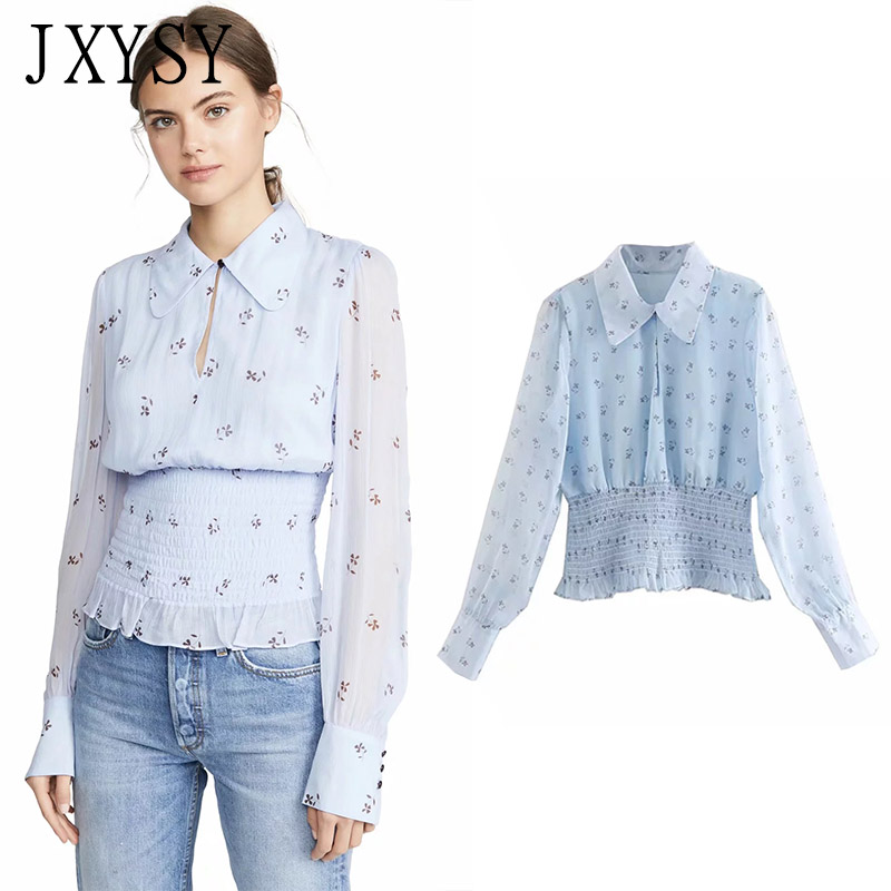 JXYSY 2019 blusas women mujer de moda casual peter pan collar print translucent shirt kimono blouse womens tops and blouses