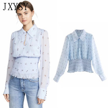 JXYSY 2019 blusas women mujer de moda casual peter pan colla
