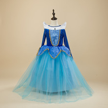 Kids Girls Costumes Carnival Halloween Princess Aurora Dress Fairy Fancy Dress Role-play Outfits Size 4-10Y Wear for Christmas