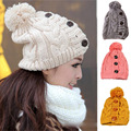 Women Warm Winter Braided Buttons Crochet Bobble Hat Knitted Outdoor Ski Cap NEW HATBD0056