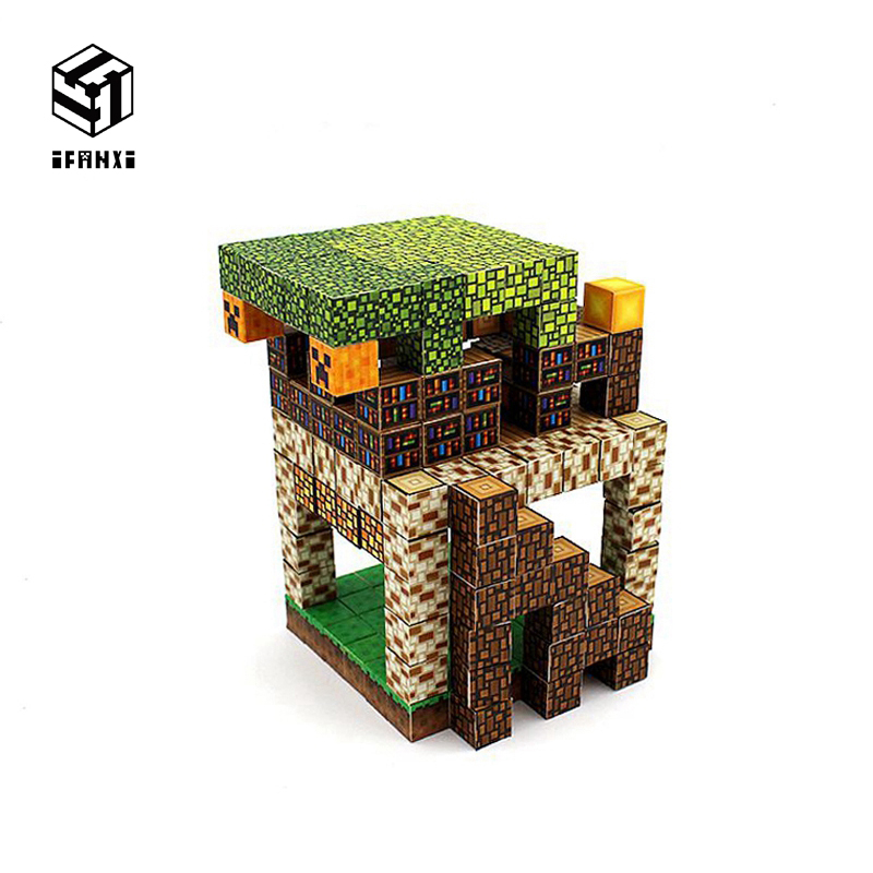 200PCS Minecraft Magnetic Building Blocks Models Bricks Hand Paste Compatible With Lego DIY Brain Toy Hardcover-Summer House Set