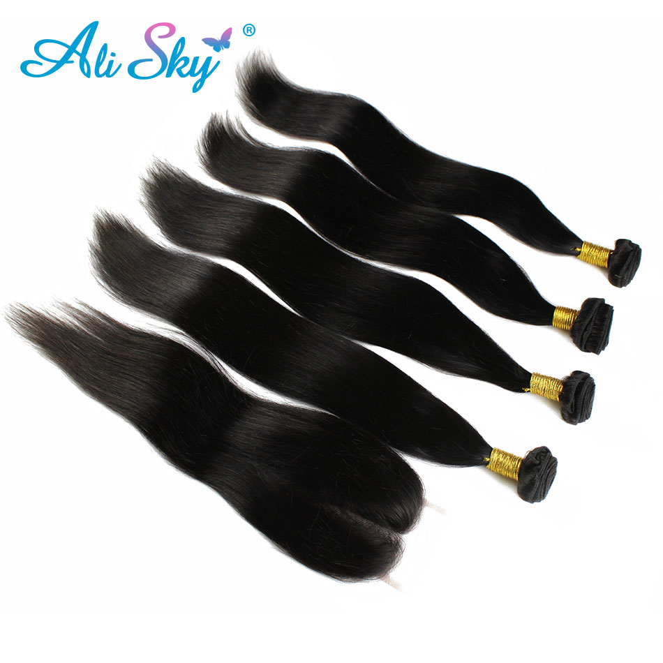 Wholesale Brazilian Virgin Hair With Closure Ali Sky Hair Products Brazilian Straight Hair 4 Bundles With 1pcs Lace Closure