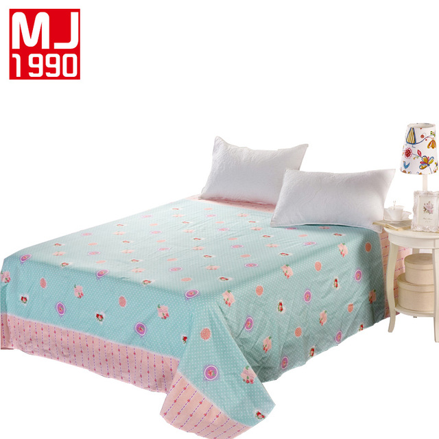 New 100 Cotton Flat Sheets Sweet Love Printed Bedding Mattress Double Oversized Full Queen
