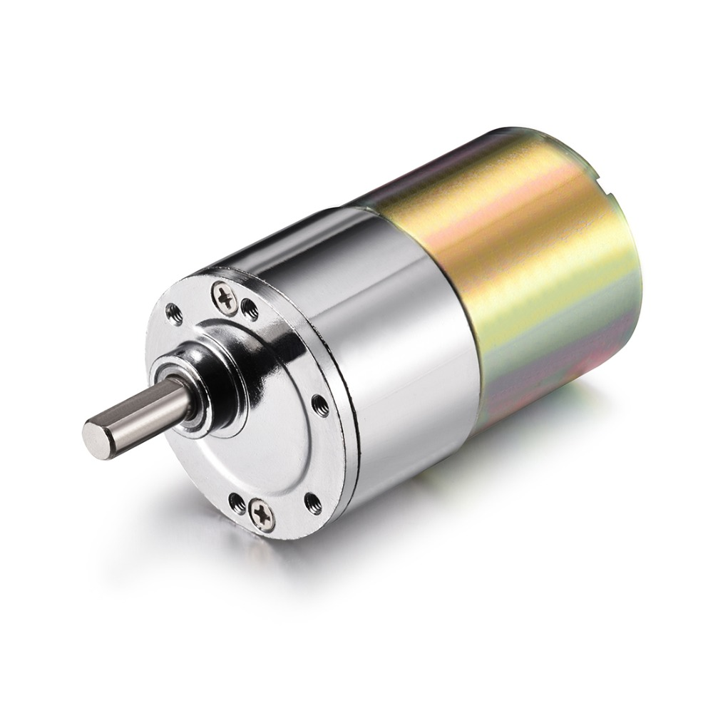 12V DC Motor 200RPM Micro Gear Motor Box 37mm Speed Reduction Electric Gearbox Excentral Output Shaft High Torque