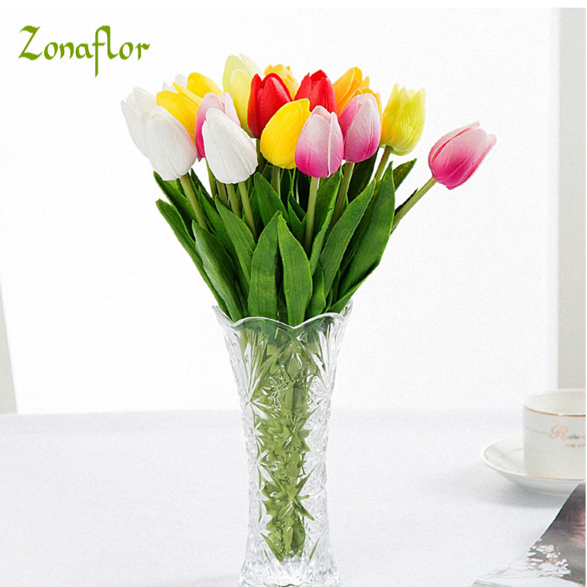 Zonaflor 5/11/21pcs/lot Tulip Artificial Flower 2017 Real Touch PU Wedding Flowers Home Decor Bouquet Fake Decorative Flowers