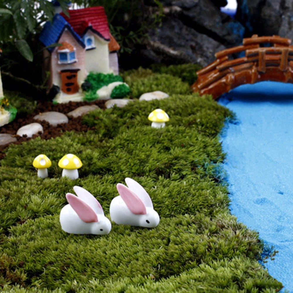 Miniature Rabbits Resin White Ornament DIY Landscaping Miniature ...