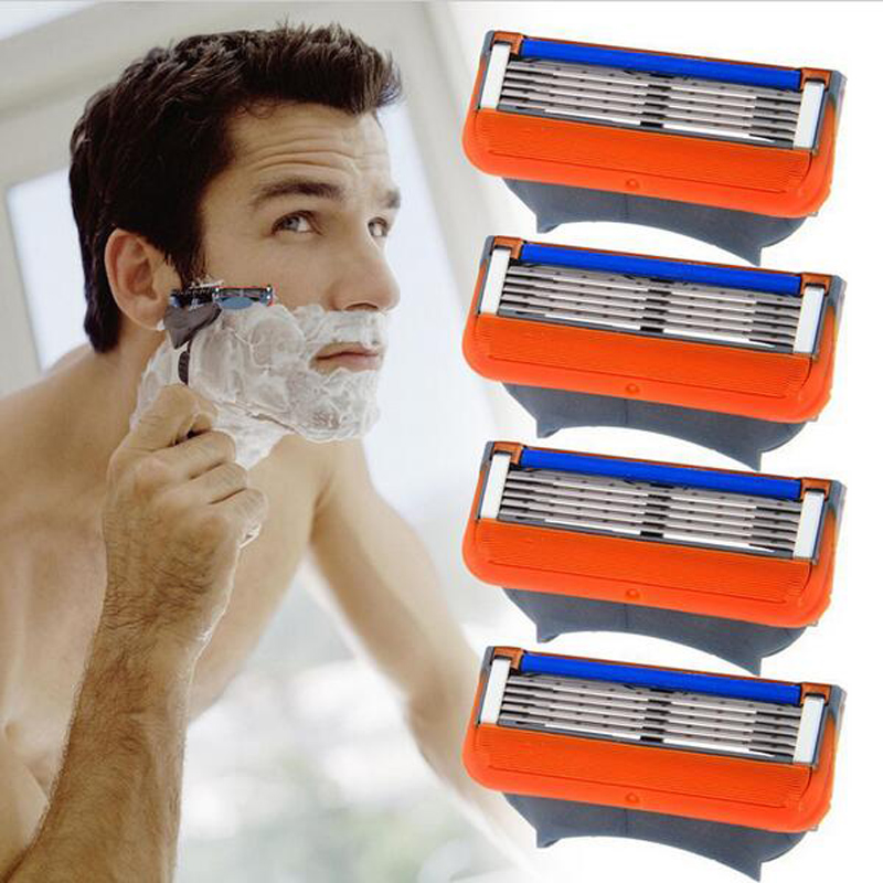 4pcs Razor Blade For Shaving Safety Shaver Blades Cassette 5Blades Compatible For Gillettee Fusione For Mens Face