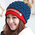 Autumn and winter new women 's knitted wool hat handmade warm Mao rabbit hair ball fashion girl hat MZ-24#