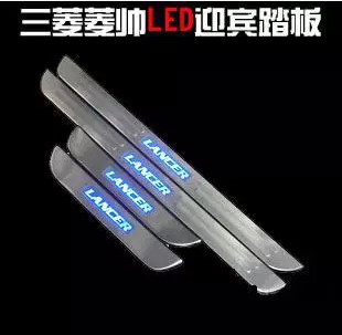 Free shipping , STAINLESS STEEL  Door Sill Scuff Plate  LED Blue for Mitsubishi Lancer 2003-2008