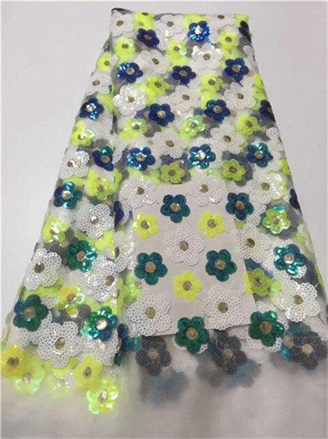 Hot Koop franse kant 5 yards/lot goedkope afrikaanse pailletten kant stof witte hoge kwaliteit afrikaanse tule kant stof groen geel-in Kant van Huis & Tuin op  Groep 1