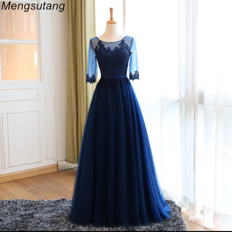 Robe de soiree Navy Blue Scoop Neck Half Sleeve Lace Embroidery A-line Long   evening     Dress   vestido de festa Party Prom   Dresses