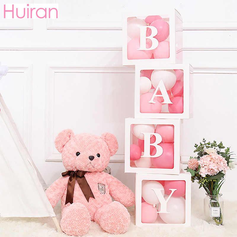 HUIRAN şeffaf isim yaş kutusu kız erkek bebek duş süslemeleri bebek 2 1st 1 bir doğum günü partisi dekoru hediye bebek duş malzemeleri