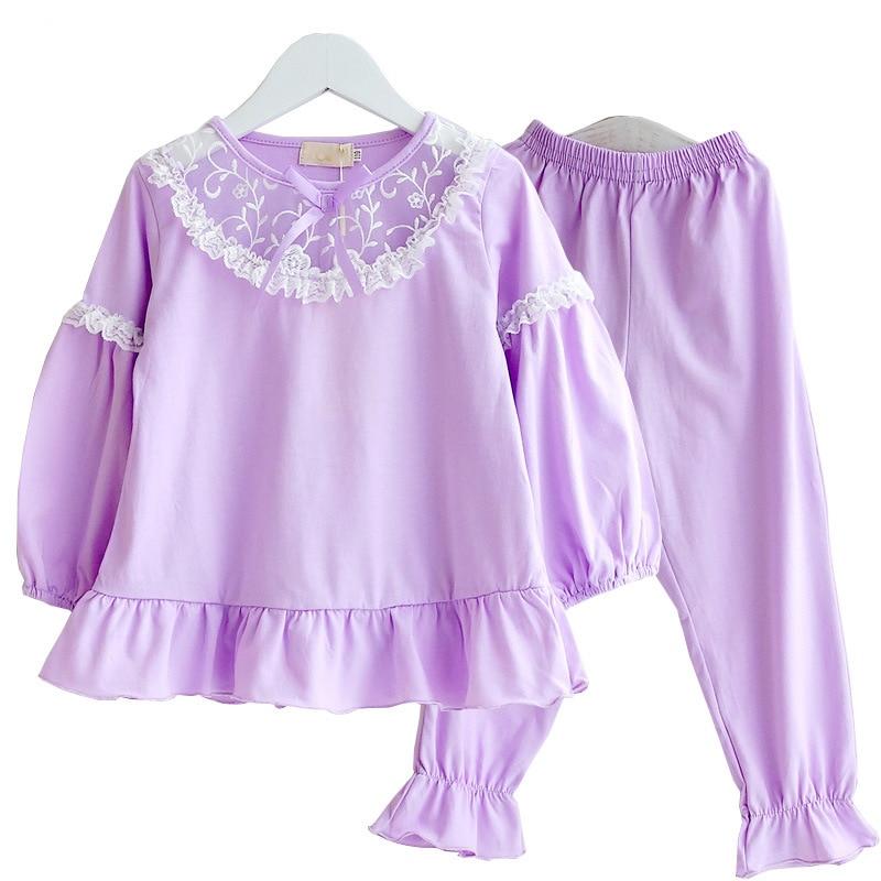 Image 3 - Summer Girls Pajama Sets Kids Sleepwear Cotton Lace Lantem Sleeve Home Clothes Children Nightgown Princess 90 170cmPajama Sets   -