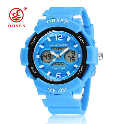 New Fashion OHSEN Brand Children Sports Watches LED Digital Quartz Military Watch Boy Girl Student Multifunctional Wristwatches new cartoon children watch girl watches fashion boy kids student cute leather sports analog wrist watches relojes k519