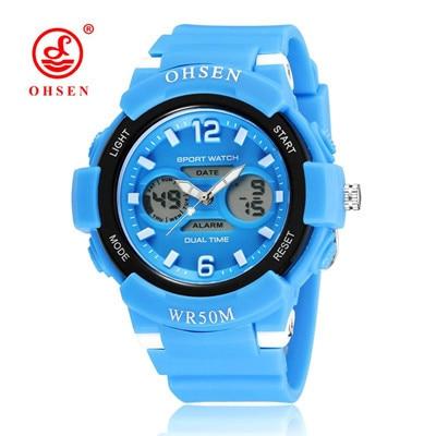 New Fashion OHSEN Brand Children Sports Watches LED Digital Quartz Military Watch Boy Girl Student Multifunctional Wristwatches