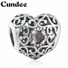 Fits Pandora Bracelets 2015 Xmas Gift 925 Sterling Silver Openwork February Signature Purple Crystal Heart Birthstone Charms
