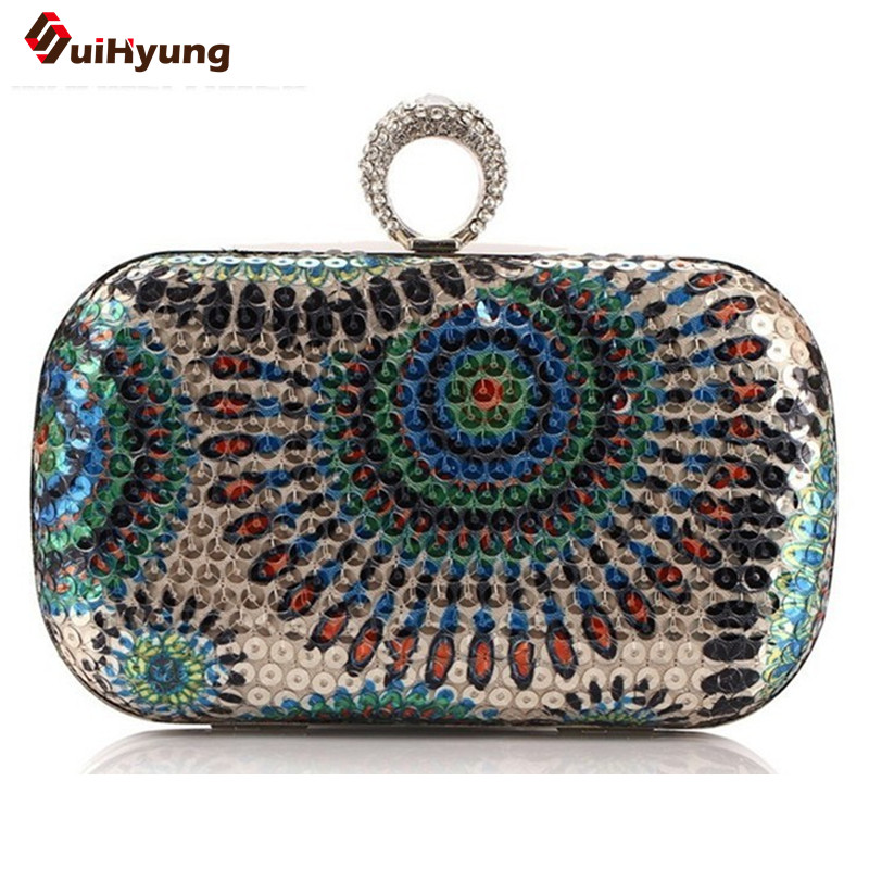 Hot Women s sequined Hard Case Ring Day Clutches Peacock Pattern Handbag Evening Bags Chain Tote