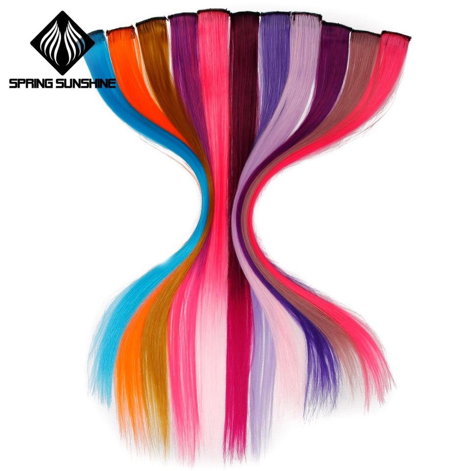 Цветной Выделите клип в одна деталь цвет полоски 20 «Длинные Синтетические волосы для наращивания прямые пряди спортивные веер