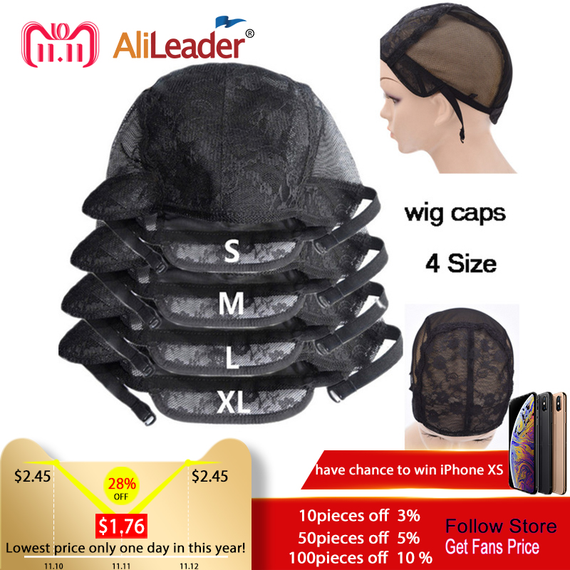 Alileader Best Wig Caps With Adjustable Straps Small Wig Net Cap Weaving Caps XL L M S 52-58 CM Double Lace Net Glueless Wig Cap 10pcsbreathable wig cap hairnet adjustable nylon weaving mesh wig caps with lace straps for making wig