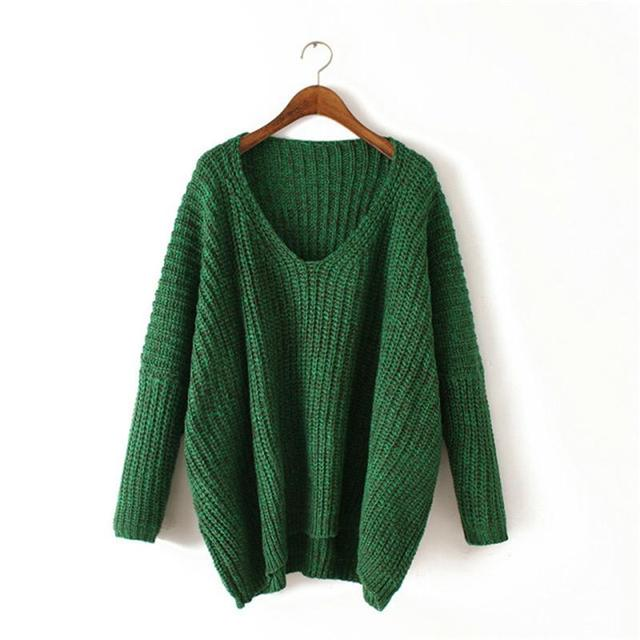 Newest High Street Casual Hot Sale Autumn/Winter Pullover V Neck Long Sleeve Chunky Knit Green Dolman Sweater Jumper For Women