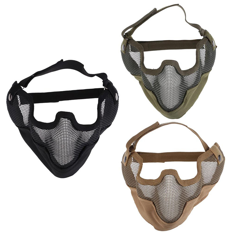 Security Protection Face Protect Mask Tactical Airsoft Paintball Steel Mesh Half Face Protect Mask with Ear Cover FC