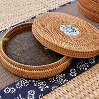 Handmade Rattan Woven Pu erh Tea Cake Storage Box Canister Kitchen Container Small