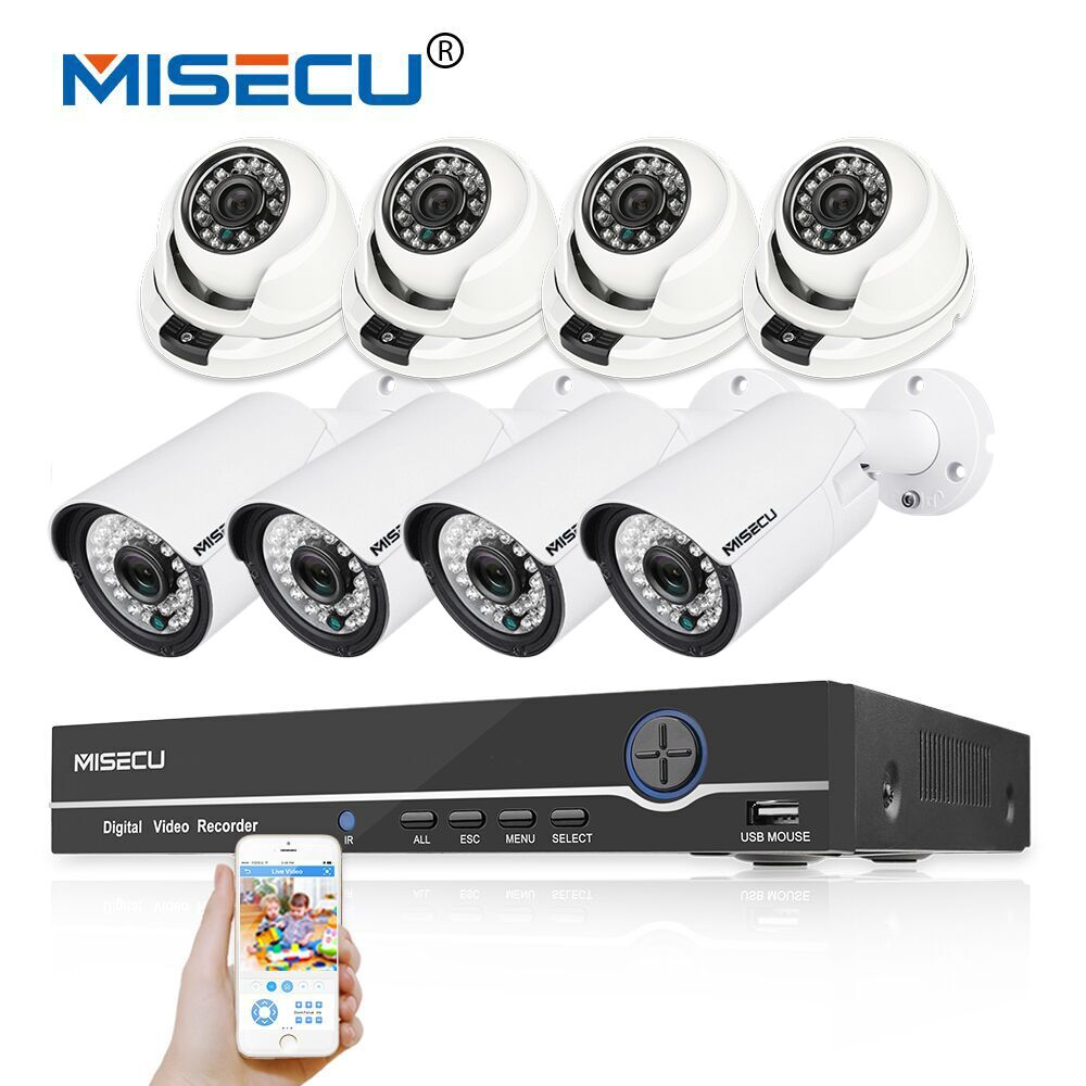 MISECU 1080 P 8CH HD réel POE NVR KIT 48 V 2MP 1080 P 8 p Bullet/dôme POE IP Caméra Dans/extérieure nuit P2P Surveillance cctv caméra