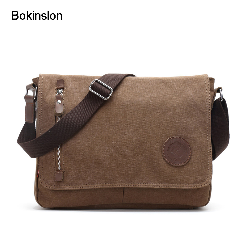 Bokinslon Men Canvas Handbags Fashion Practical Men's Shoulder Messenger Bag Popular All-Match Man Bag Shoulder Brand