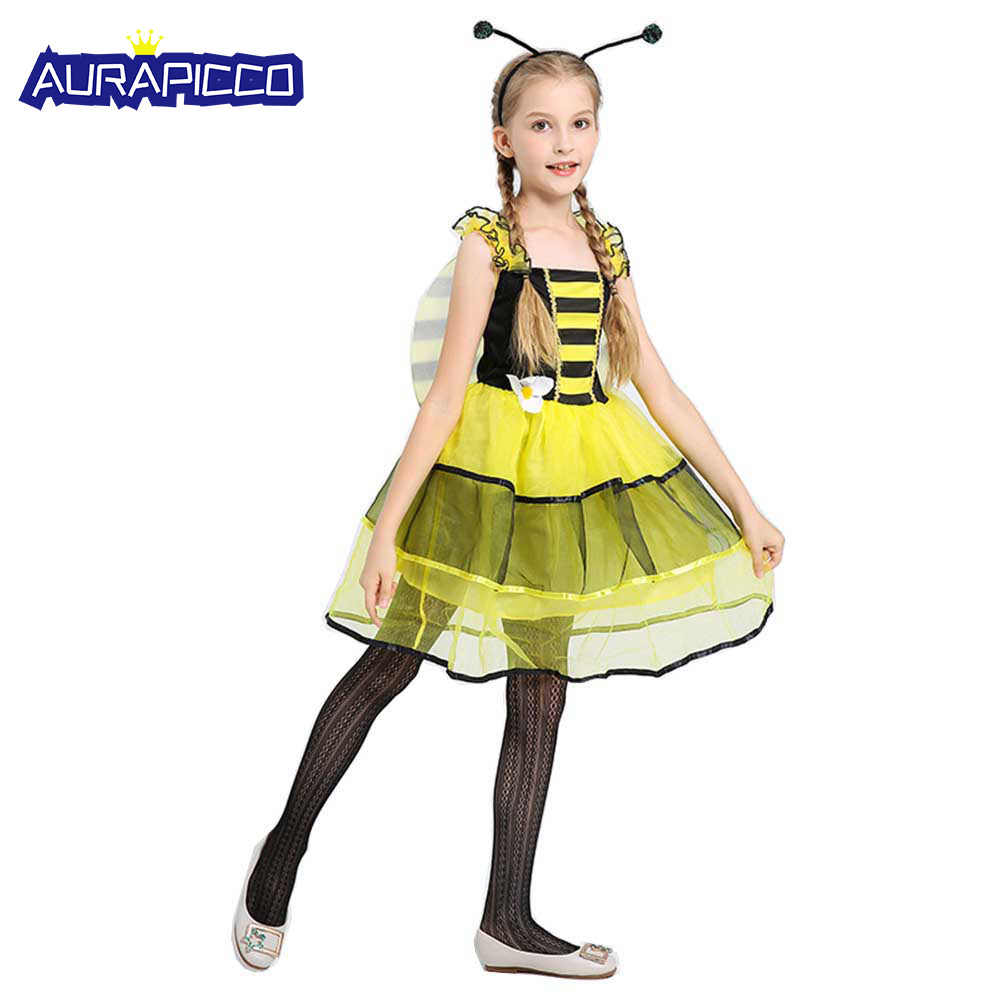 217130964 Child Bubble Bee Tutu Dress Costume Sleeveless Flower Fairy Fancy Dress  with Wings Halloween Costumes Outfit