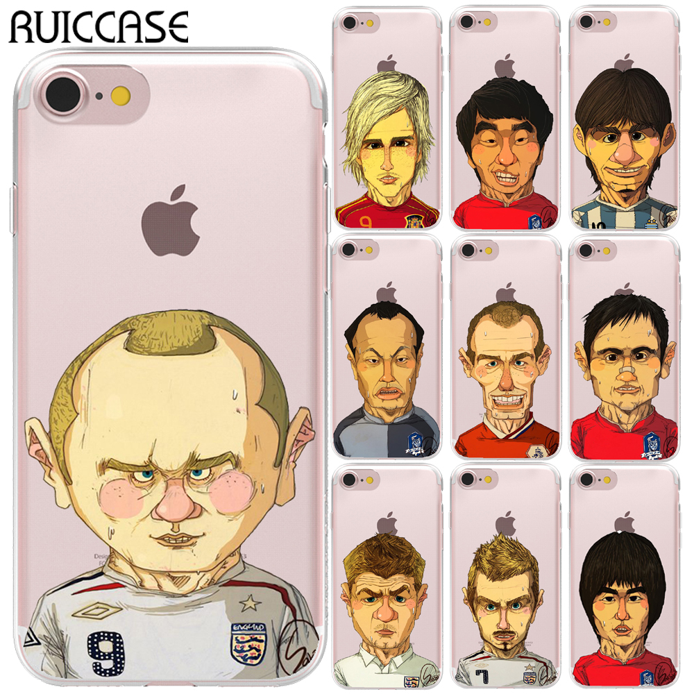 Cartoon Famous Soccer Players Soft TPU Silicone Case For Coque Apple iPhone 5 5S SE 6 6S 7 8 Plus X Phone Back Cover