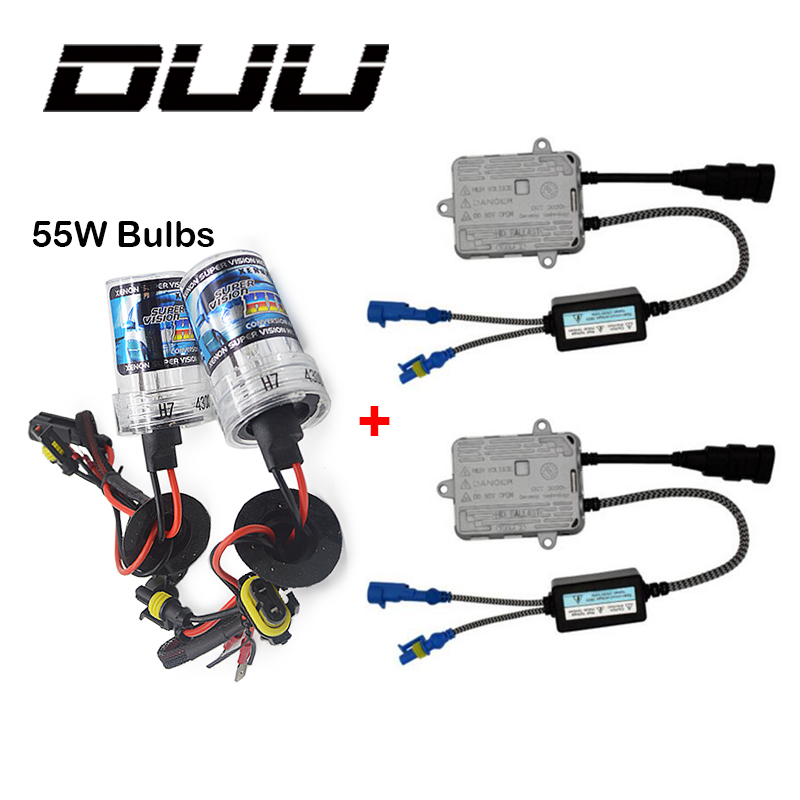 DUU 55W Slim Ballast kit HID Xenon Light bulb 12V H1 H3 H7 H11 9005 9006 4300k 5000k 6000k 8000k Auto Xeno Headlight Lamp duu 2pc h1 h3 h7 h11 9005 9006 d2s 12v 35w hid xenon bulb auto car headlight replacement lamp 4300k 5000k 6000k 8000k 10000k 120