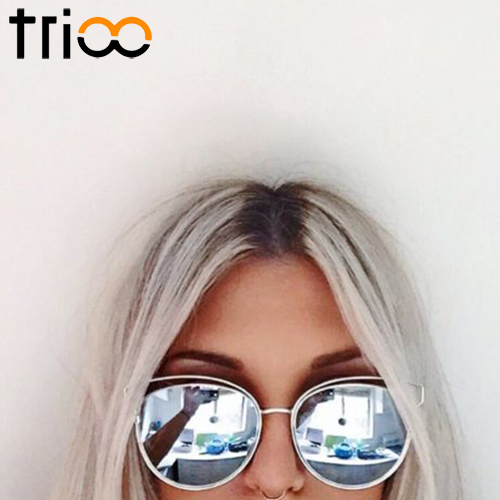 TRIOO 2017 New Flat Mirror Sun Glasses For Women Gold Frame lunette Metal Cateye Shades Chic