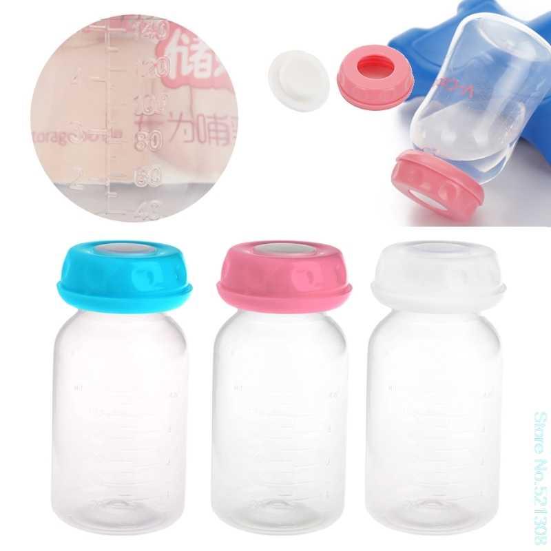 مجموعة زجاجات حفظ رضاعة حليب الأطفال 125 مللي أمبير فتحة رقبة واسعة زجاجة تخزين شحن سريع