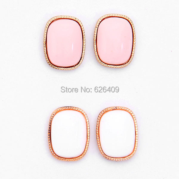 2015 New Free Shipping Chic Girl'S Lovely Cute Fashion Earrings Ear Studs Fashion Jewelry Pink White 2 Colors
