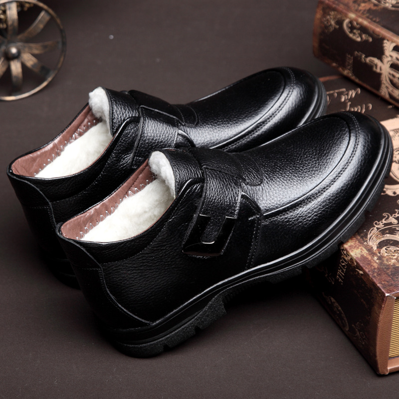 New Handmade Natural Short Plush Men Winter Boots Warmest Genuine Leather Russian Style Men Snow Boots