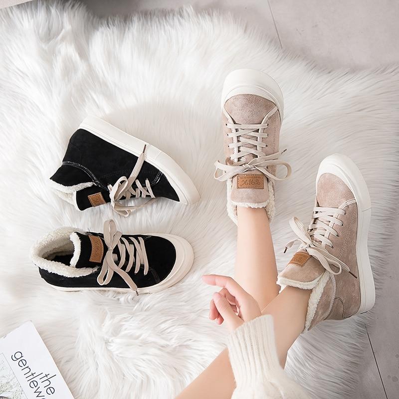 Casual khaki Plüsch Winter Frauen 2018 Warme Flache Mode Black Turnschuhe Schuhe Vulkanisierte Weibliche 87Uq7