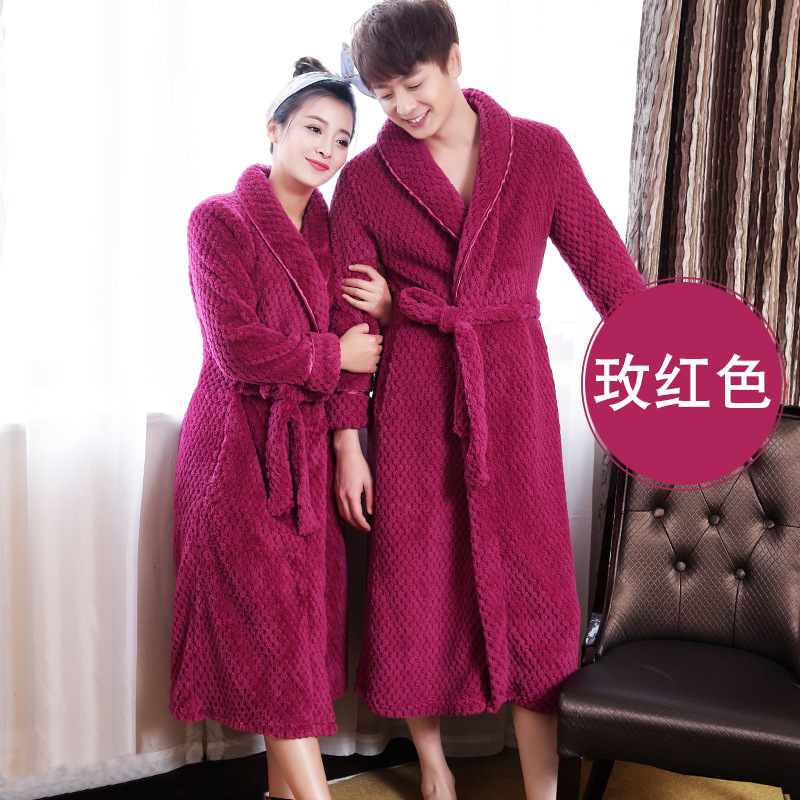 6 Colors Plush Robe Adult Women Men Winter Pajamas Long Sleeve Lover Couples Long Sleepwear Bath Robe Dressing Gowns