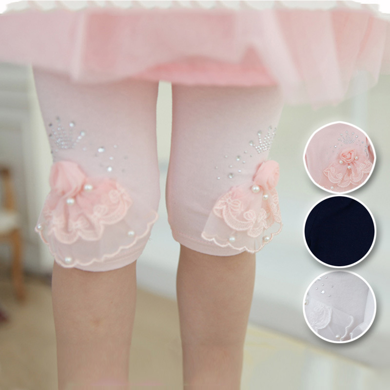 Baby Kids 3D Flowers Pants Summer Korean Baby Children's Cotton Knee-length Legging Kid's Lace Rose Pants Clothing Trousers
