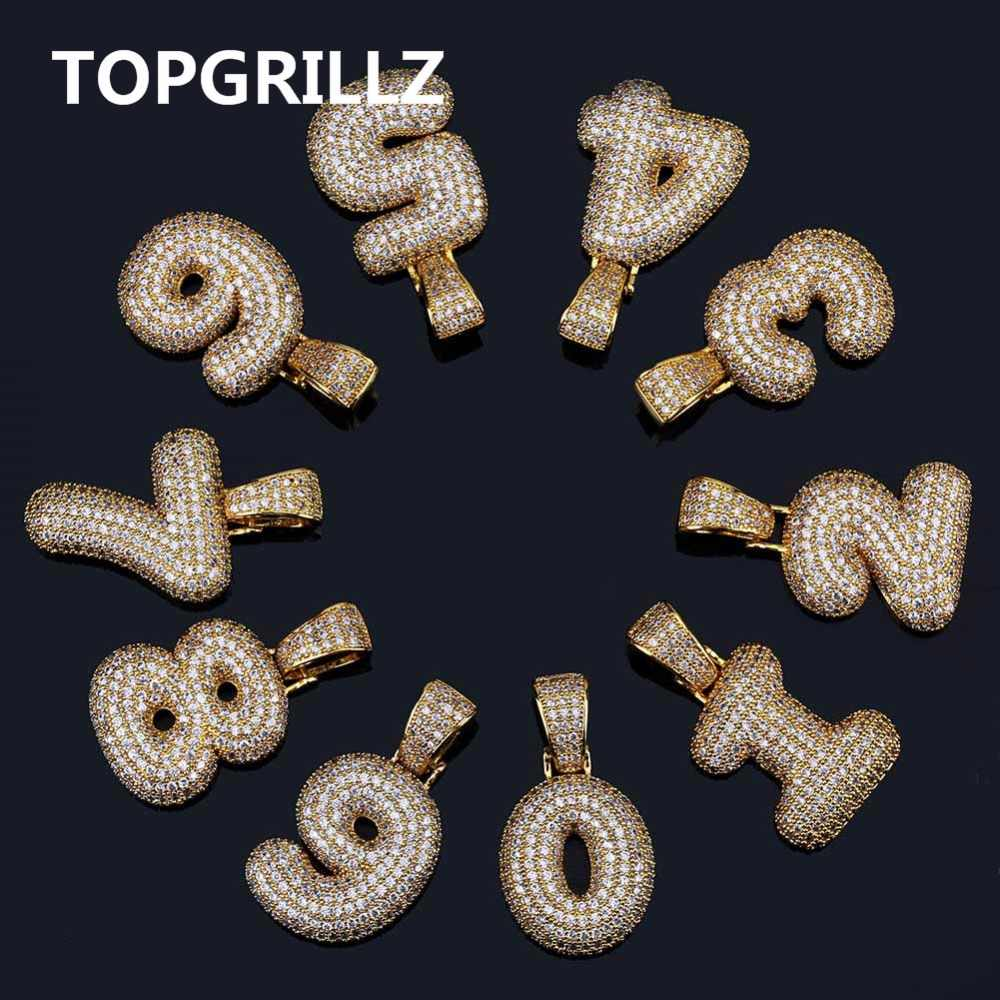 TOPGRILLZ Hip Hop mężczyźni kobiety urok 0-9 nazwa niestandardowa Bubble numerów naszyjniki i wisiorek złoty srebrny kolor Cubic cyrkon Choker prezenty
