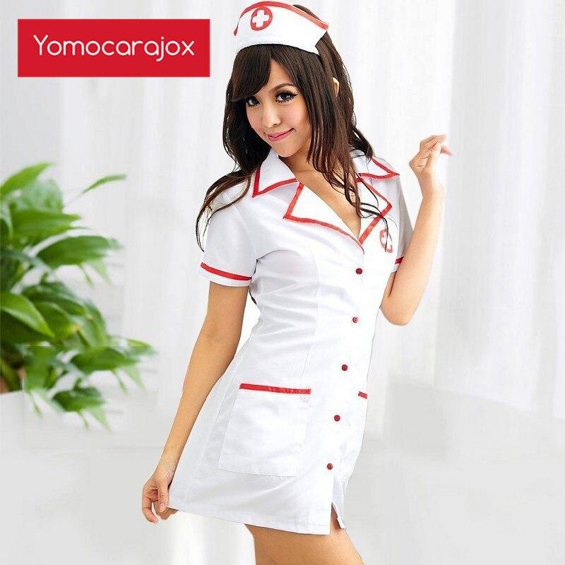 Yomocarajox Enfermera Nurse Cosplay Lingerie Sexy Quente Erótico Para Mulheres Set Fantasias Uniforme Tempt Vestido Com Decote Em V de Algodão