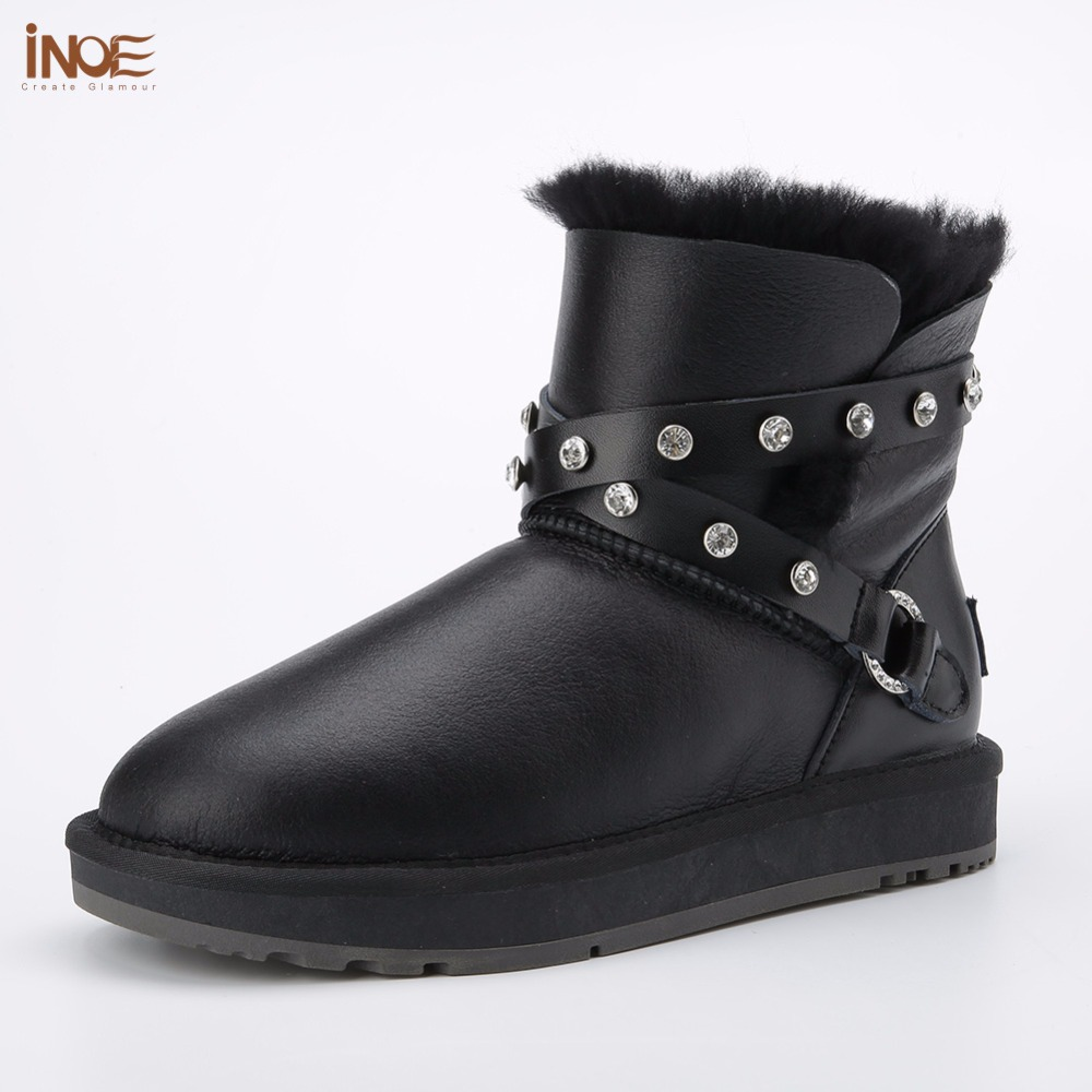 все цены на INOE fashion sheepskin leather women ankle winter snow boots for womans buckle natural fur lined short winter shoes waterproof онлайн