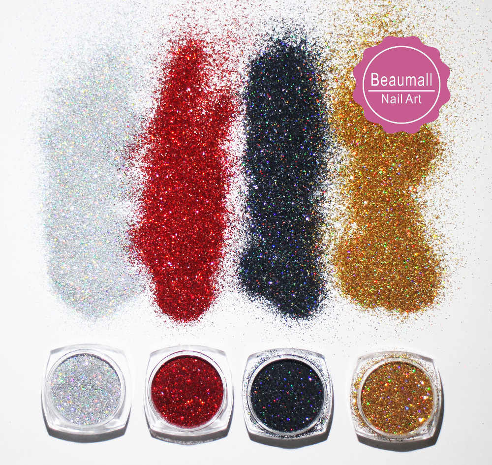 2g/pot, 0.2mm 008 Size Holographic Glitters Laser Powder Glitters Chrome Pigments Glitter Dusts For Nail ,Tatto Art Decorations