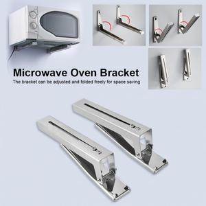 Image 4 - 2pcs Kitchen Stainless Steel Microwave Oven Bracket Sturdy Foldable Stretch Wall Mount Rack Shelf christmas Easy to install
