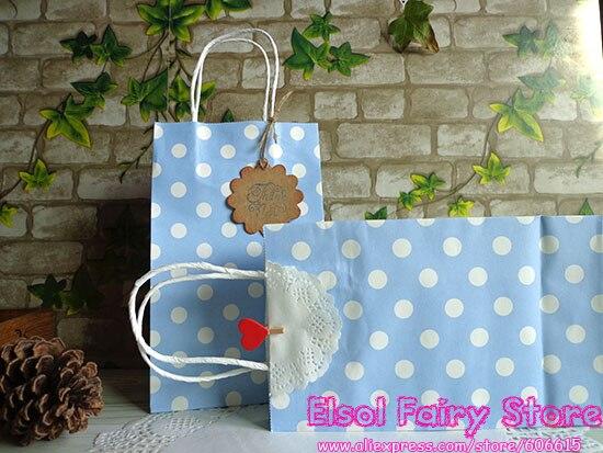 Light blue (20pcs/lot) Polka Dots kraft Light blue paper bag,Party ...