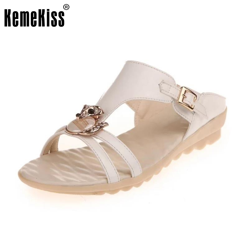 Ladies Flats Sandals Rhinestone Flip Flop Slipper Open Toe Sandal Buckle Summer Shoe Women Beach Vacation Footwear Size 35-40 sandals 2016 new famous brand buckle womens flip flop sandals summer beach sandals af327