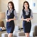 Nova Primavera 2017 Mulheres Blazers Escritório de Negócios Vestido Com Blusa Para Senhoras Outfits Conjuntos de Carreira Desgaste do Trabalho Plus Size 4XL