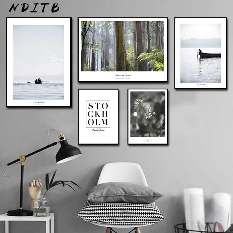 Scandinavian Decoration Sea Boat Forest Canvas Wall Art Poster Nordic Style Landscape Print Painting Nature Decorative Pictures