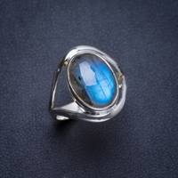 Natural Blue Fire Labradorite Handmade Unique 925 Sterling Silver Ring 7 Y4364