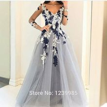 G615 Light Gray Tulle Prom Dress 2019 Long Sleeves Flower Evening Dress  Sexy Middle East Saudi c12e05bce01c